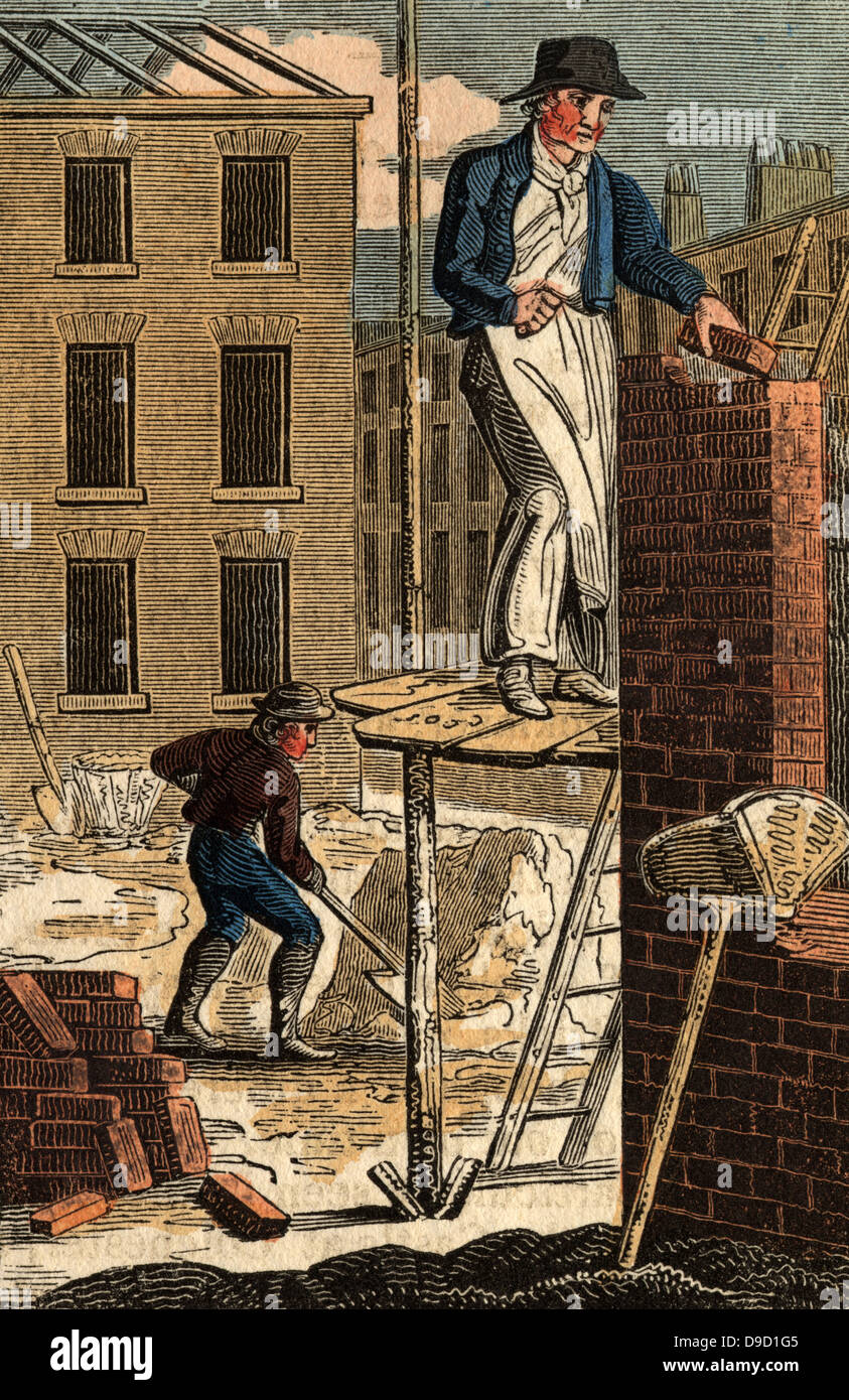 The Brick Layer Standing On A Wooden Scaffold, Building The Wall Of A  House. Leaning Against The Wall Is A Hod For Carrying