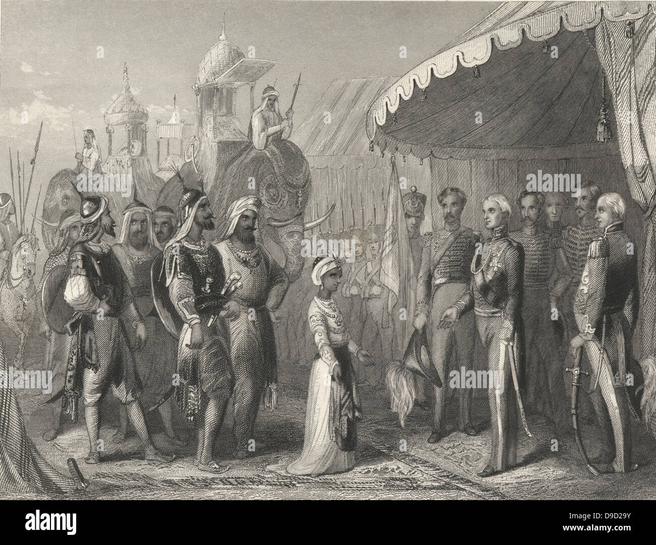 First Anglo-Sikh War 1845-1846: Maharaja Duleep Singh (1838-1893)  submitting to Sir Henry Hardinge, Governor-General of India,