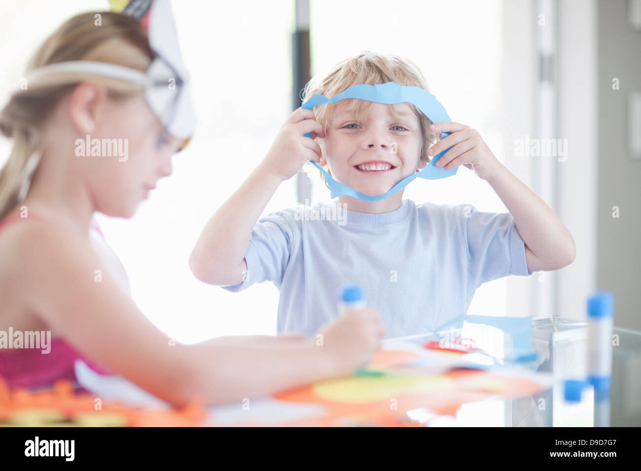 Children's mask making party Stock Photo
