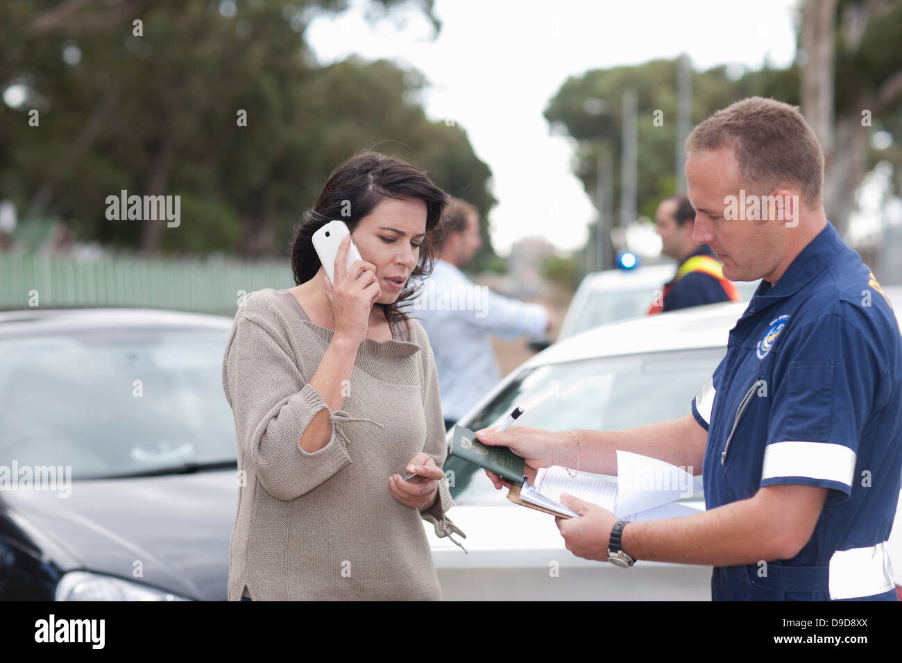 Car accident scene - Stock Image