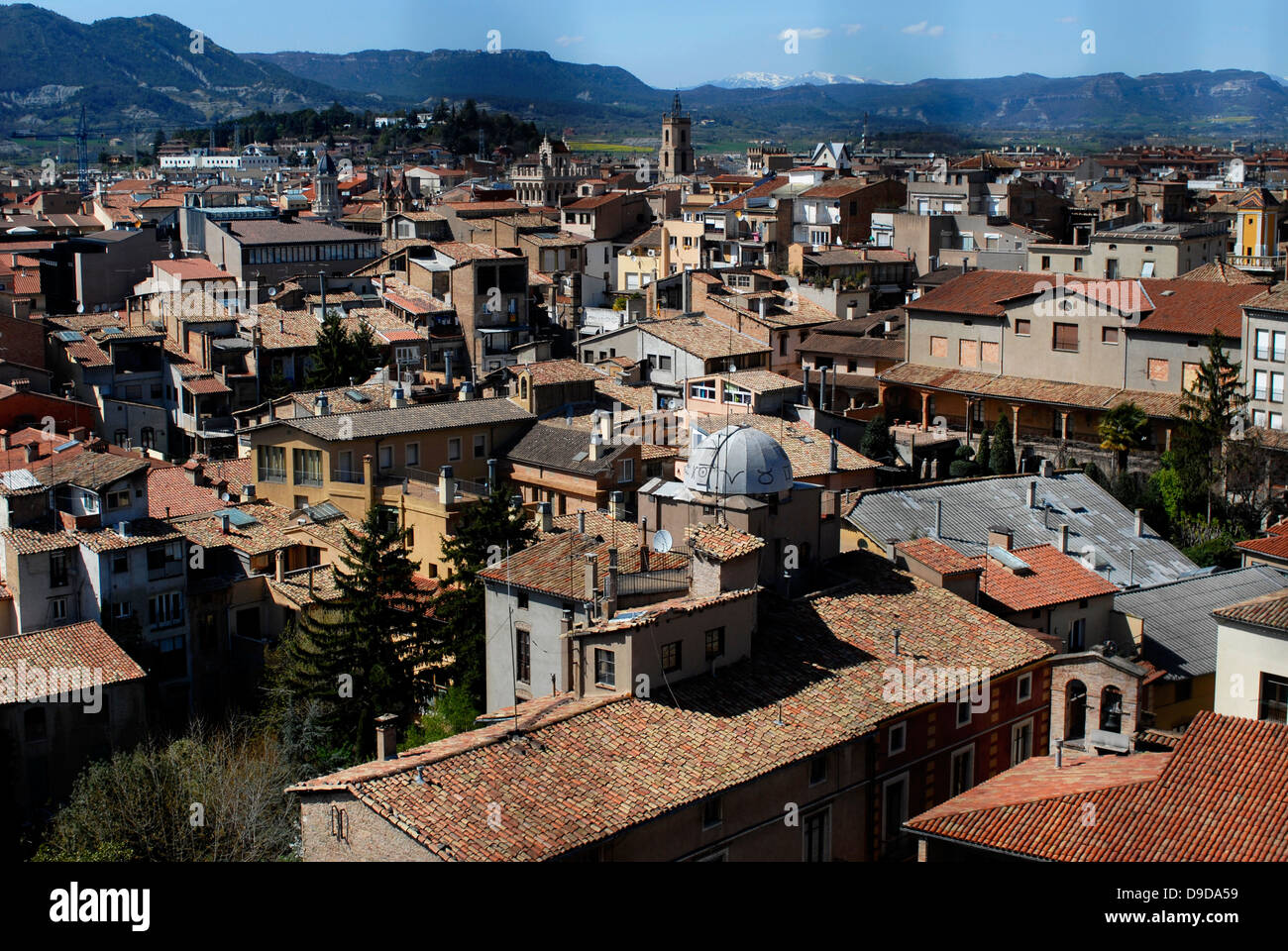 View, Panoramic, Belfry, Cathedral, San Pere, Vic, Osona, Barcelona, Catalonia, Spain, Europe - Stock Image