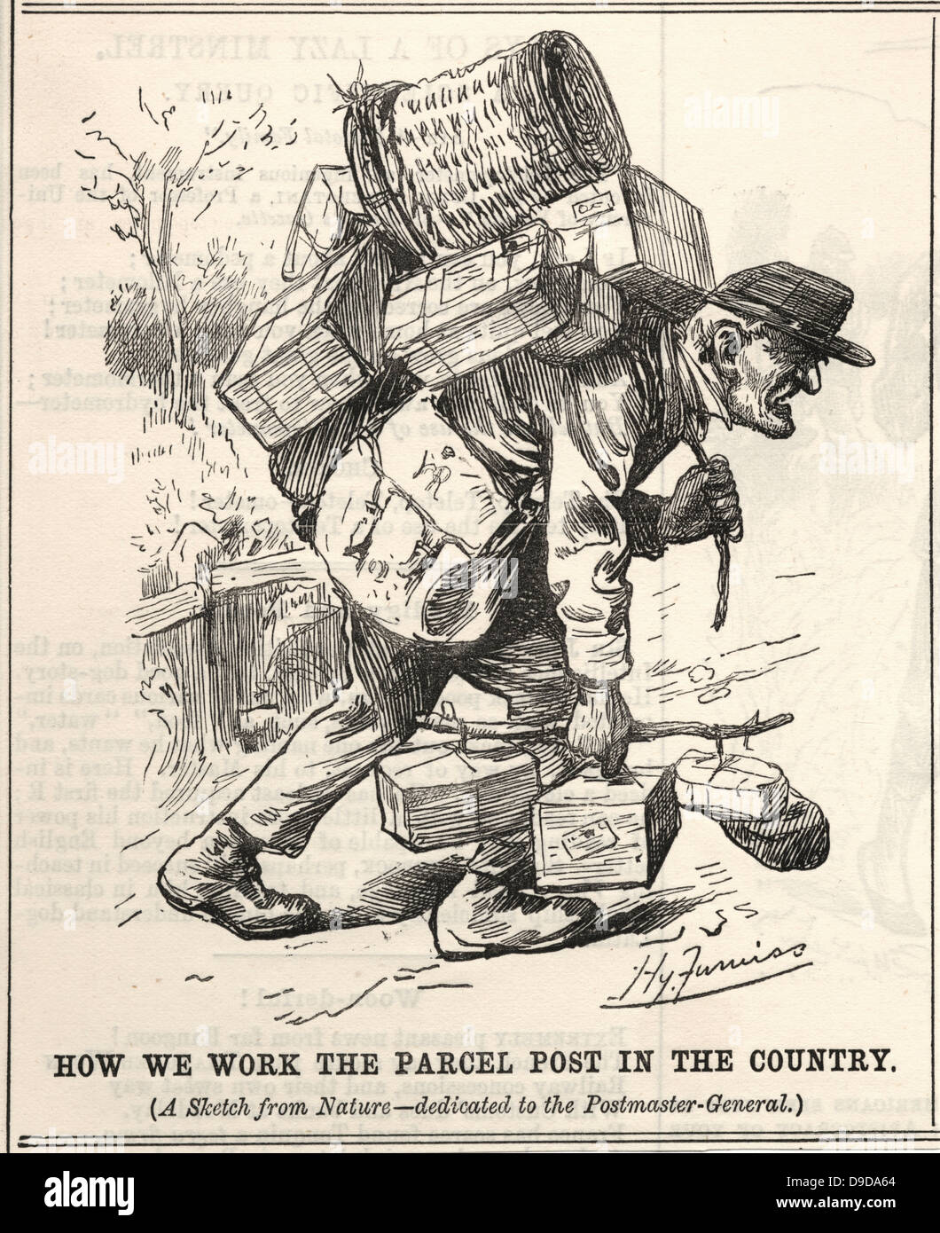 Cartoon by Harry Furniss on the suffering of postmen after  the introduction of Parcel Post.  From Punch London, - Stock Image