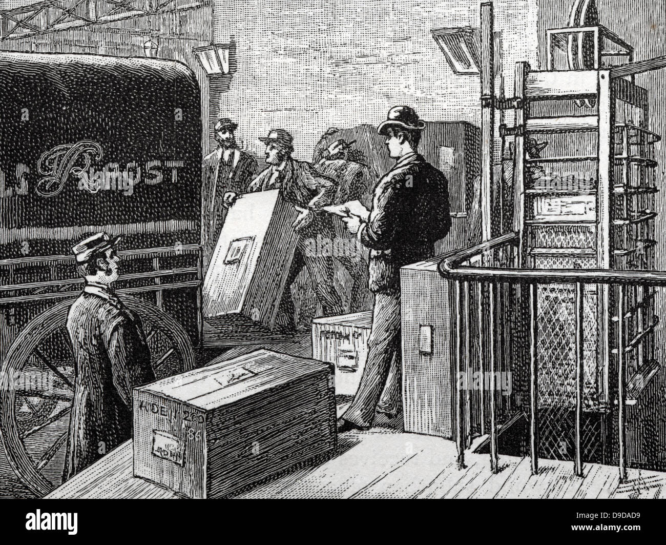 Parcel Post Department, General Post Office, St Martins le Grand, London.  Dispatching boxes of parces which have - Stock Image