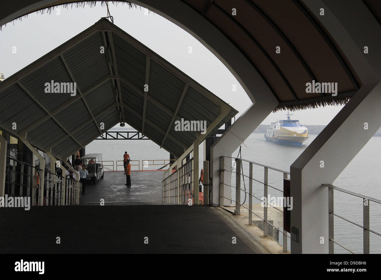 Bintan Island, Indonesia. 17th June, 2013. JUNE 17, 2013:A ship from Singapore with haze conditions arrived in Bintan - Stock Image