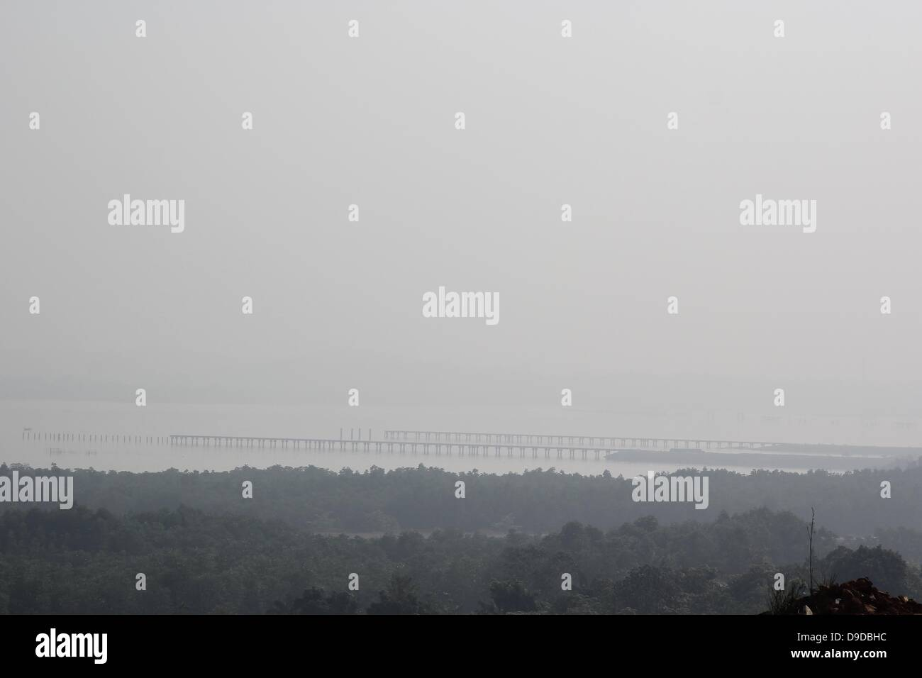 Bintan Island, Indonesia. 18th June, 2013. JUNE 18, 2013:A view of haze air polution arrived in Bintan on June 18, - Stock Image
