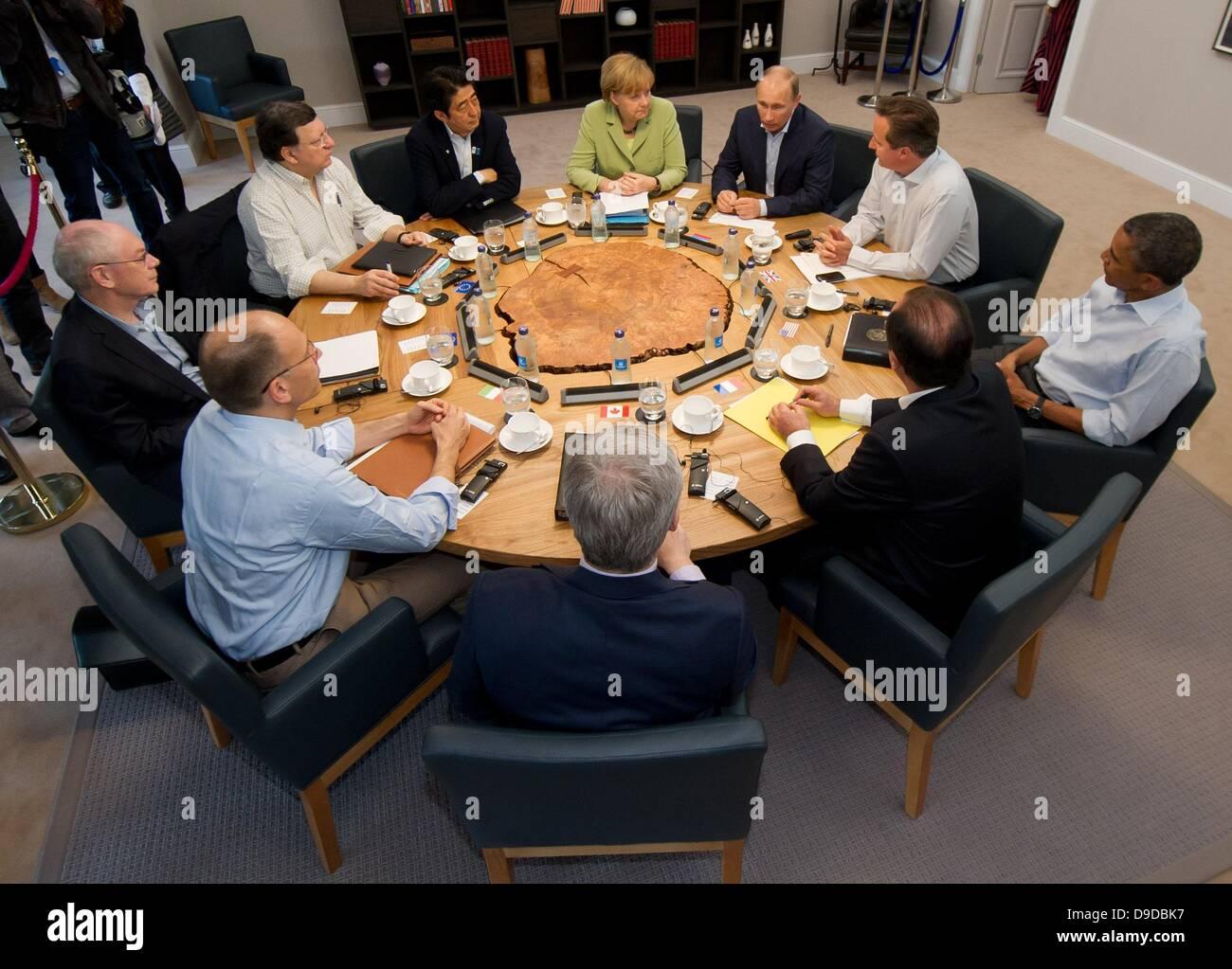 Enniskillen, Northern Ireland / Great Britain. 18th June, 2013. Participants in the G8 summit, German Chancellor Stock Photo