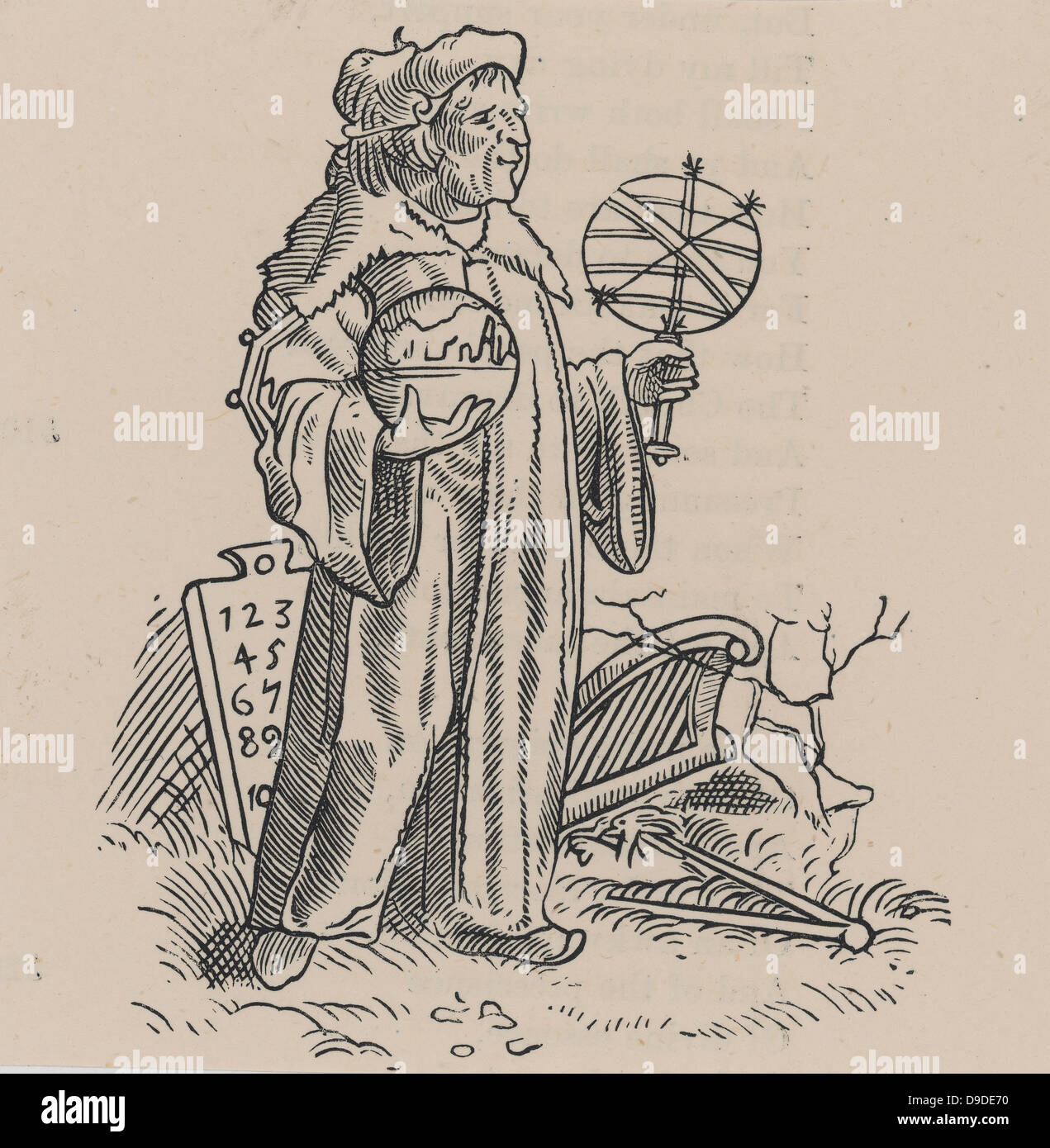 Woodcut of a sixteenth century astrologer/astronomer and his instruments. Sixteenth century woodcut. - Stock Image