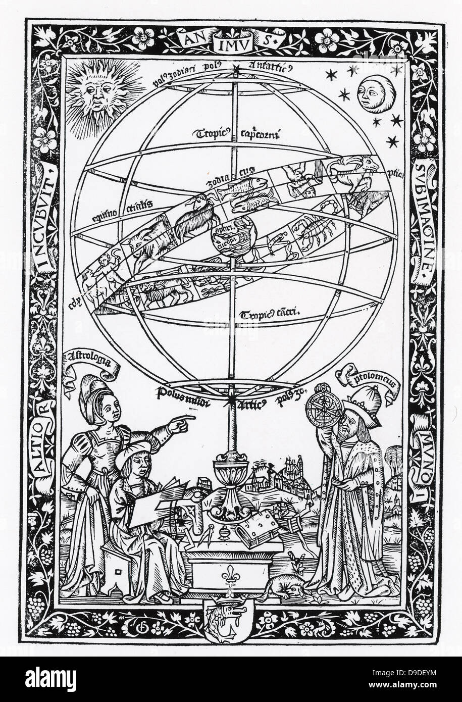 Urania, Muse of Astronomy, left, and Ptolemy using astrolabe, left. Woodcut 1521. - Stock Image