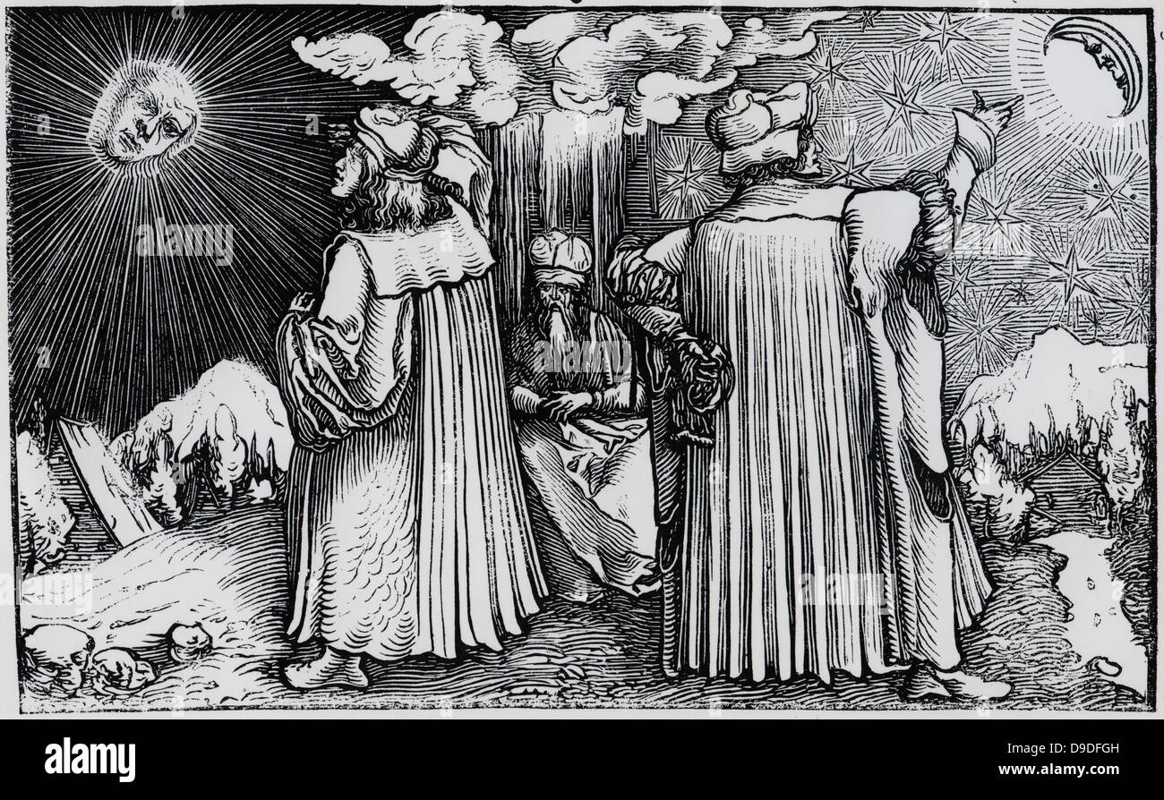 Philosopher listens to advocates of geocentric and heliocentric systems of the universe. Woodcut - Stock Image