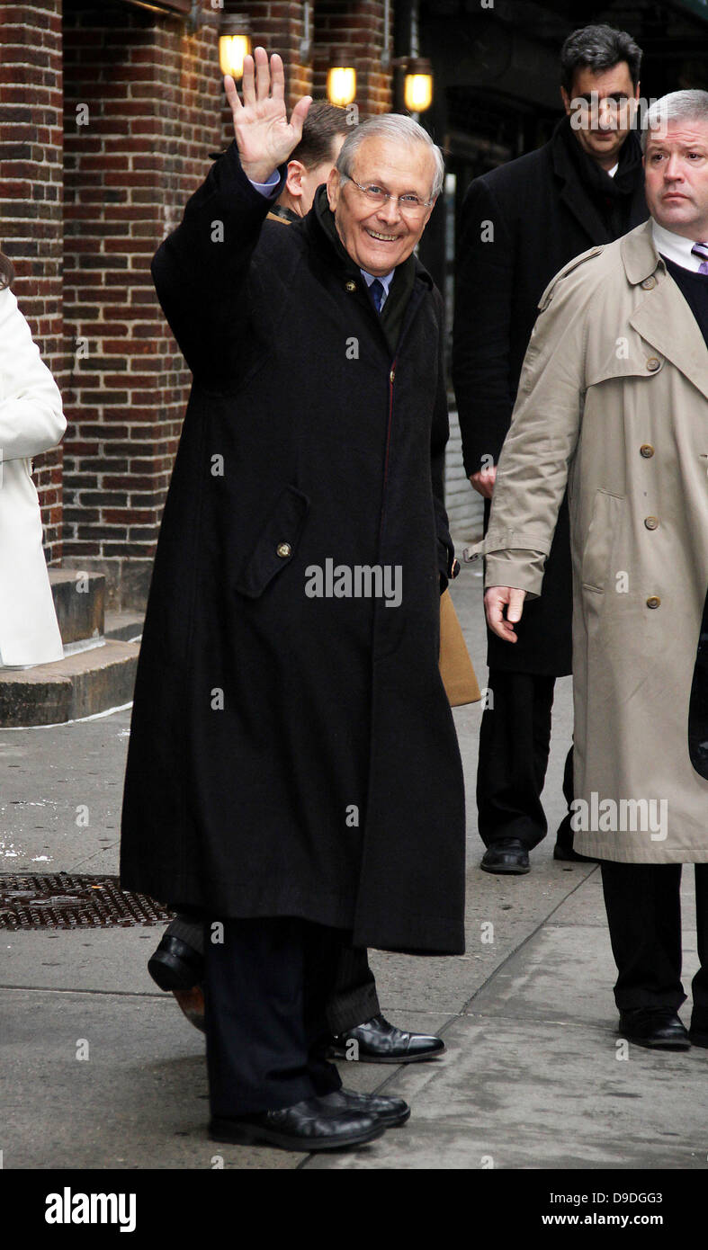 Donald Rumsfeld 'The Late Show with David Letterman' at the Ed Sullivan Theater - Departures New York City, - Stock Image