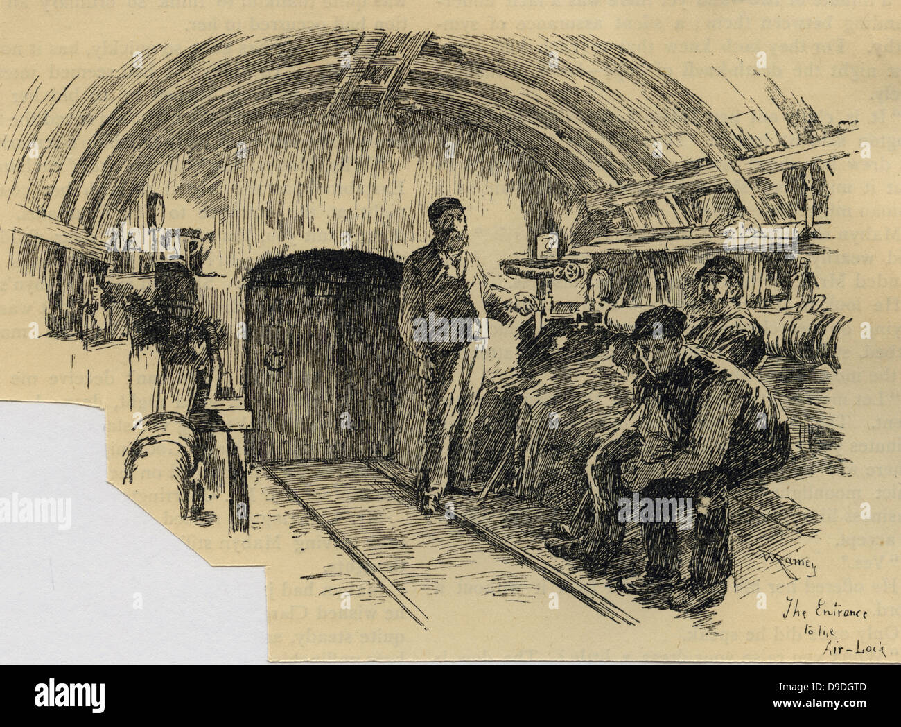 Labourers waiting at airlock to start a 7-hour shift tunnelling under London, 1890. - Stock Image