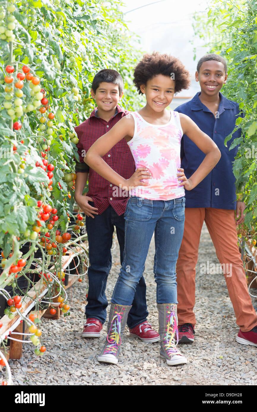Three children standing with tomato plants - Stock Image