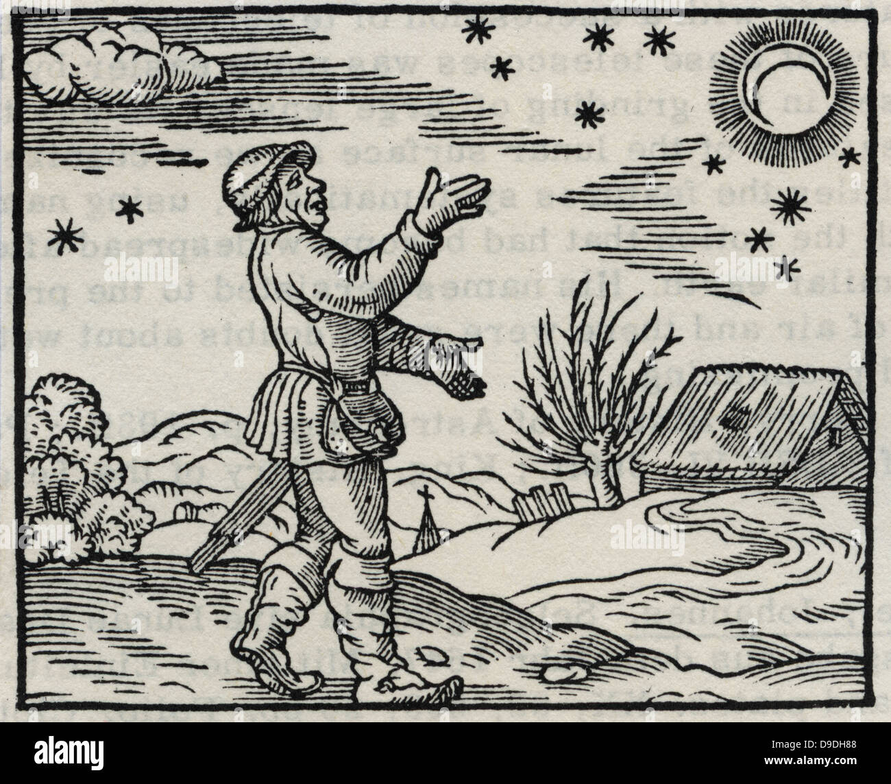 Farmer or countryman observing the Moon and stars. Mid-sixteenth century woodcut. - Stock Image