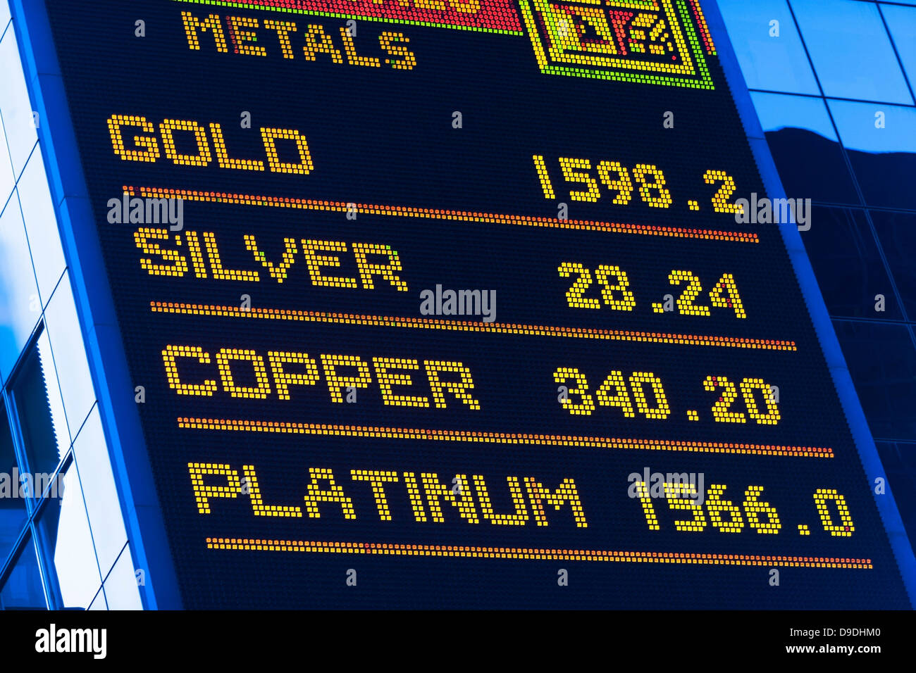 Precious metal prices, digital display - Stock Image
