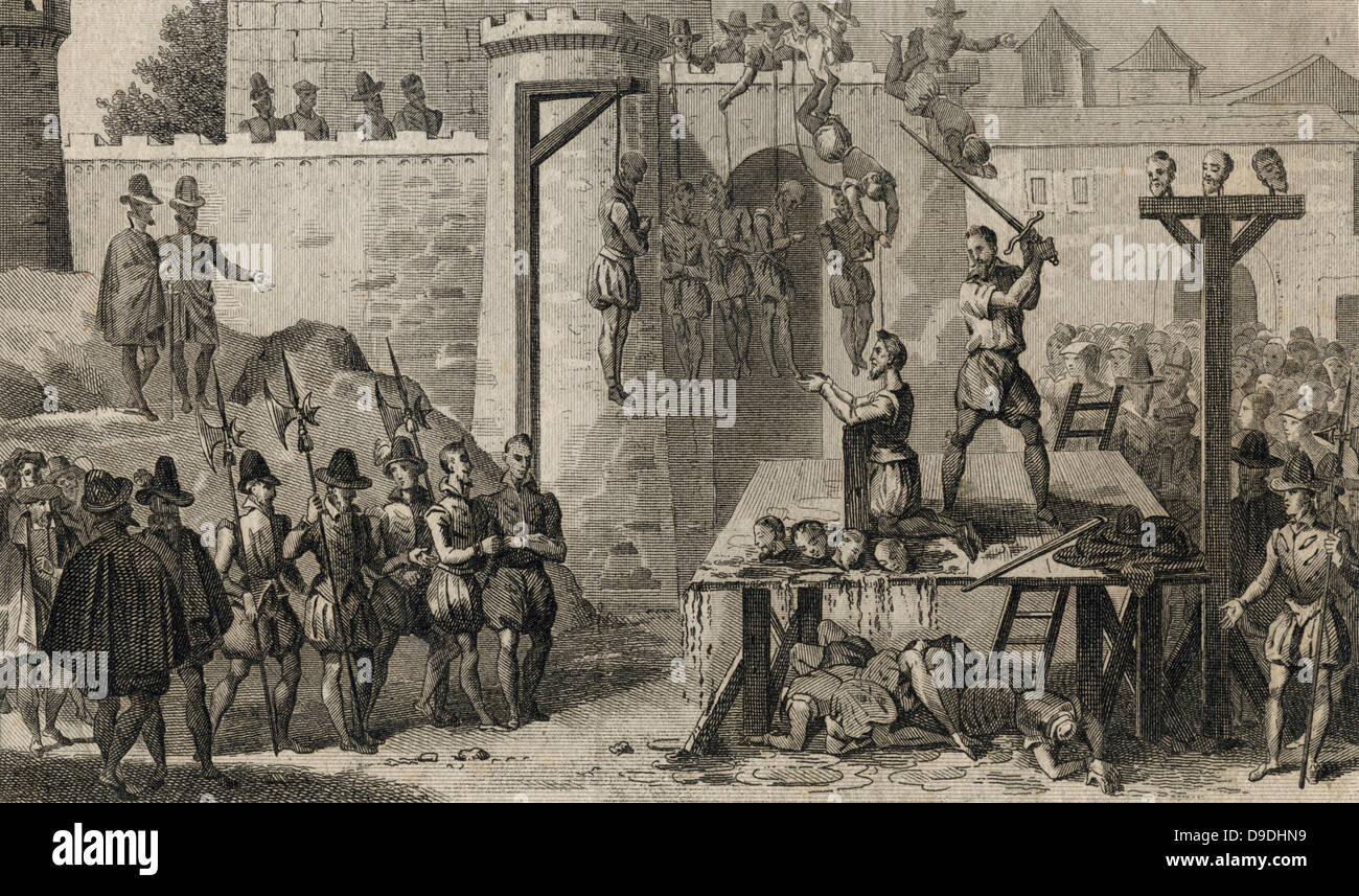Execution of Protestants during  Spanish Roman Catholic rule  in the Netherlands under the Duke of Alva (1567-1573). - Stock Image
