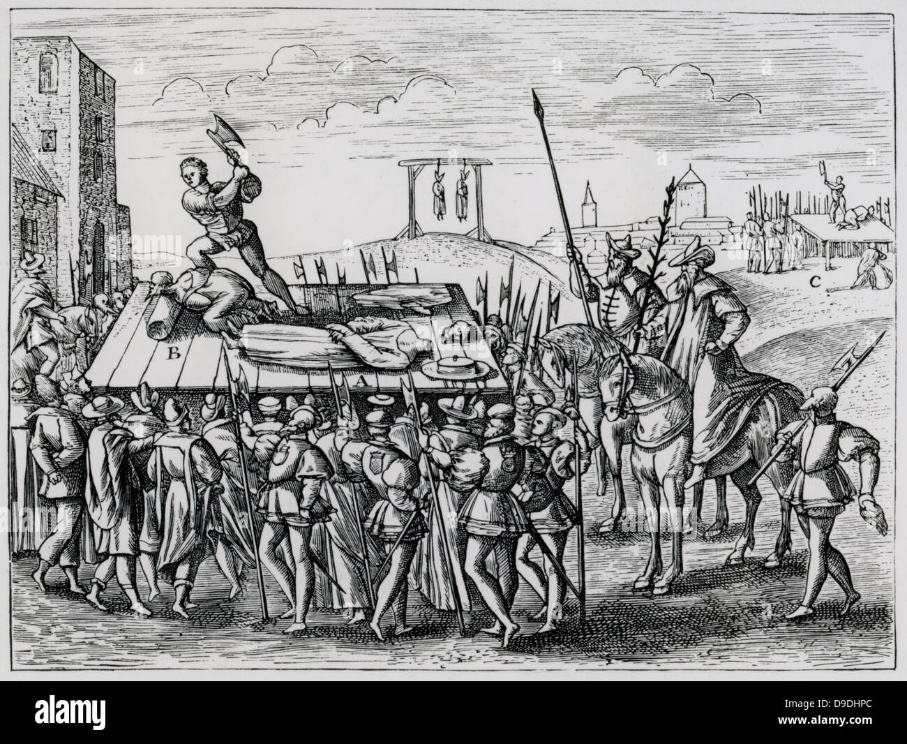 Three Roman Catholic martyrs executed on the orders of Henry VIII.  Bishop Fisher in 1535, Thomas More 1535, and - Stock Image