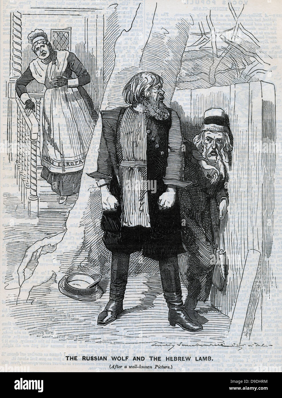 Persecution of Jews in Russia. Cartoon from ''Punch'', London, 1890. - Stock Image