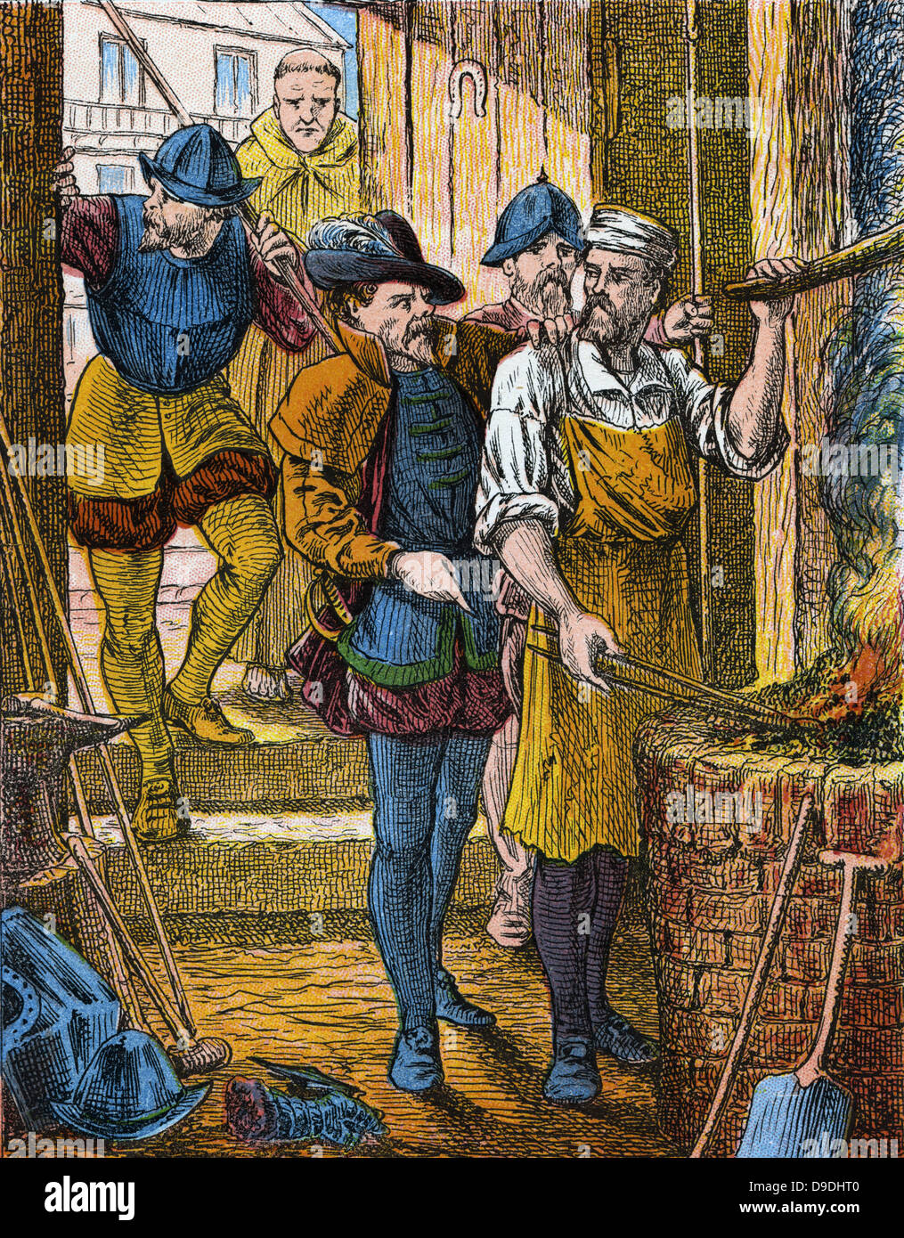 Persecution of Protestants in France under Henry II (1547-1559). Huguenot smith arrested for refusing to attend - Stock Image