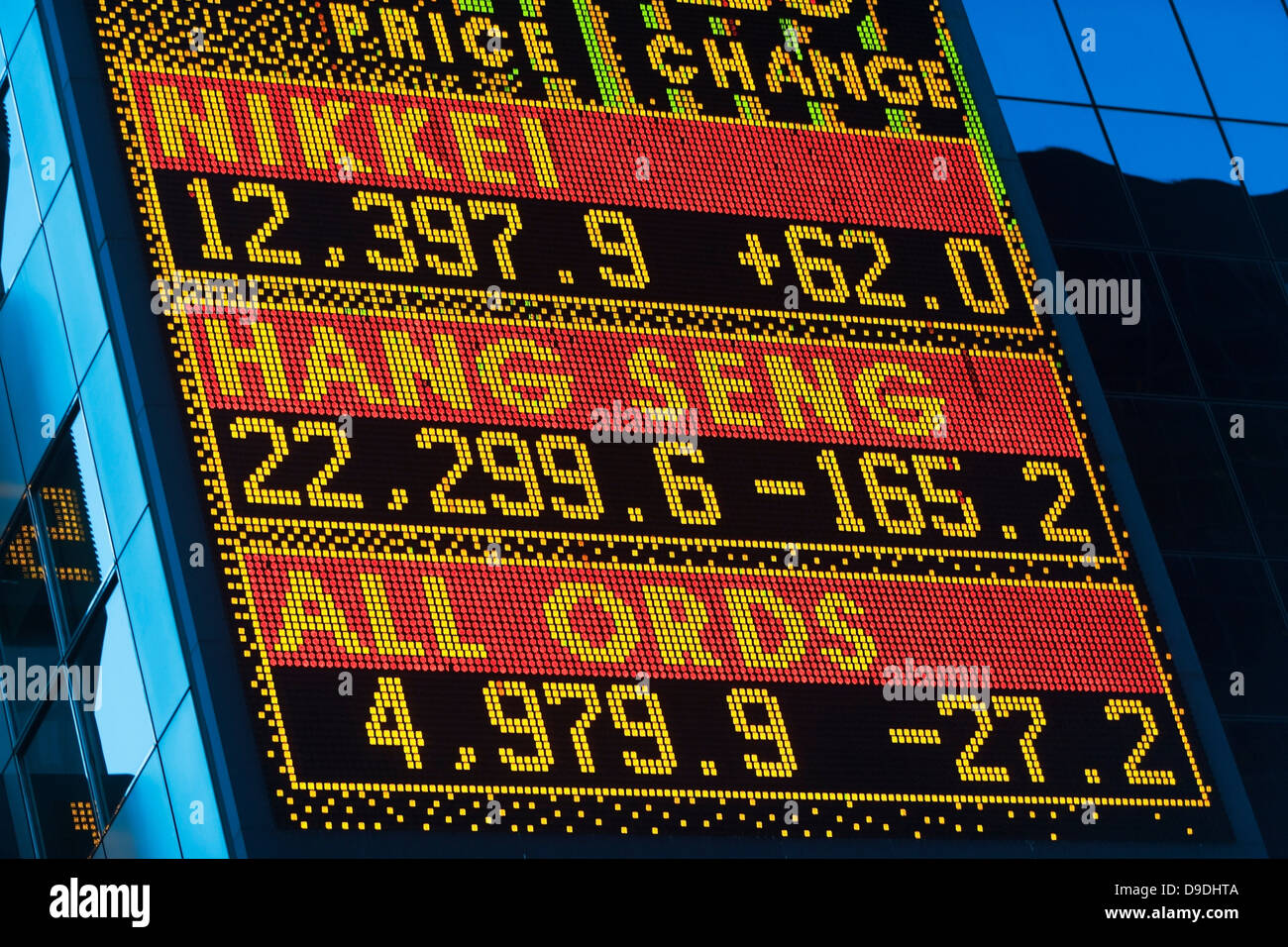 Foreign exchange rates Asia, digital display - Stock Image