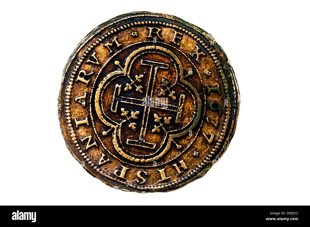 ancient medieval Spanish coin - Stock Image