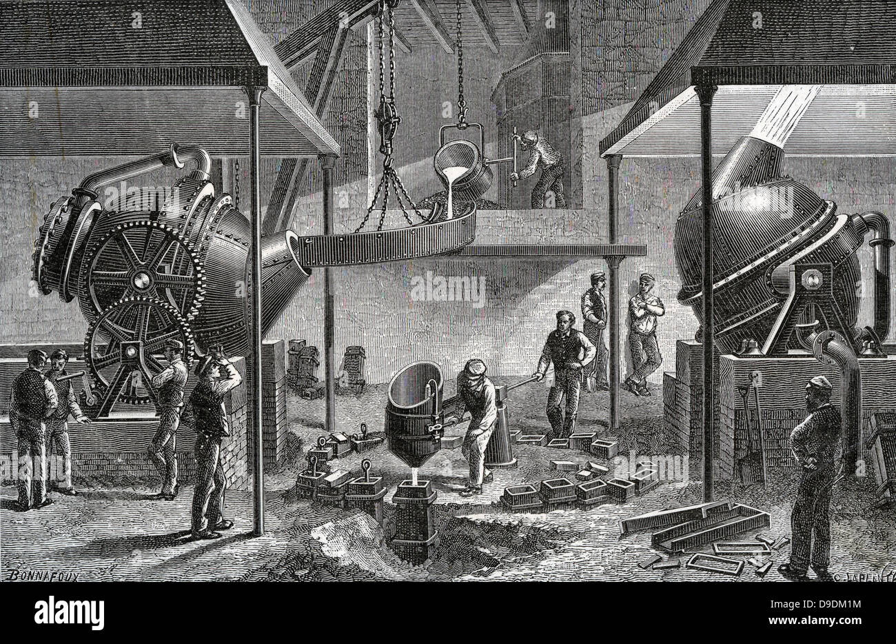 Bessemer process for mass-production of steel from pig iron converting in operation at steel works, Sheffield, England. - Stock Image
