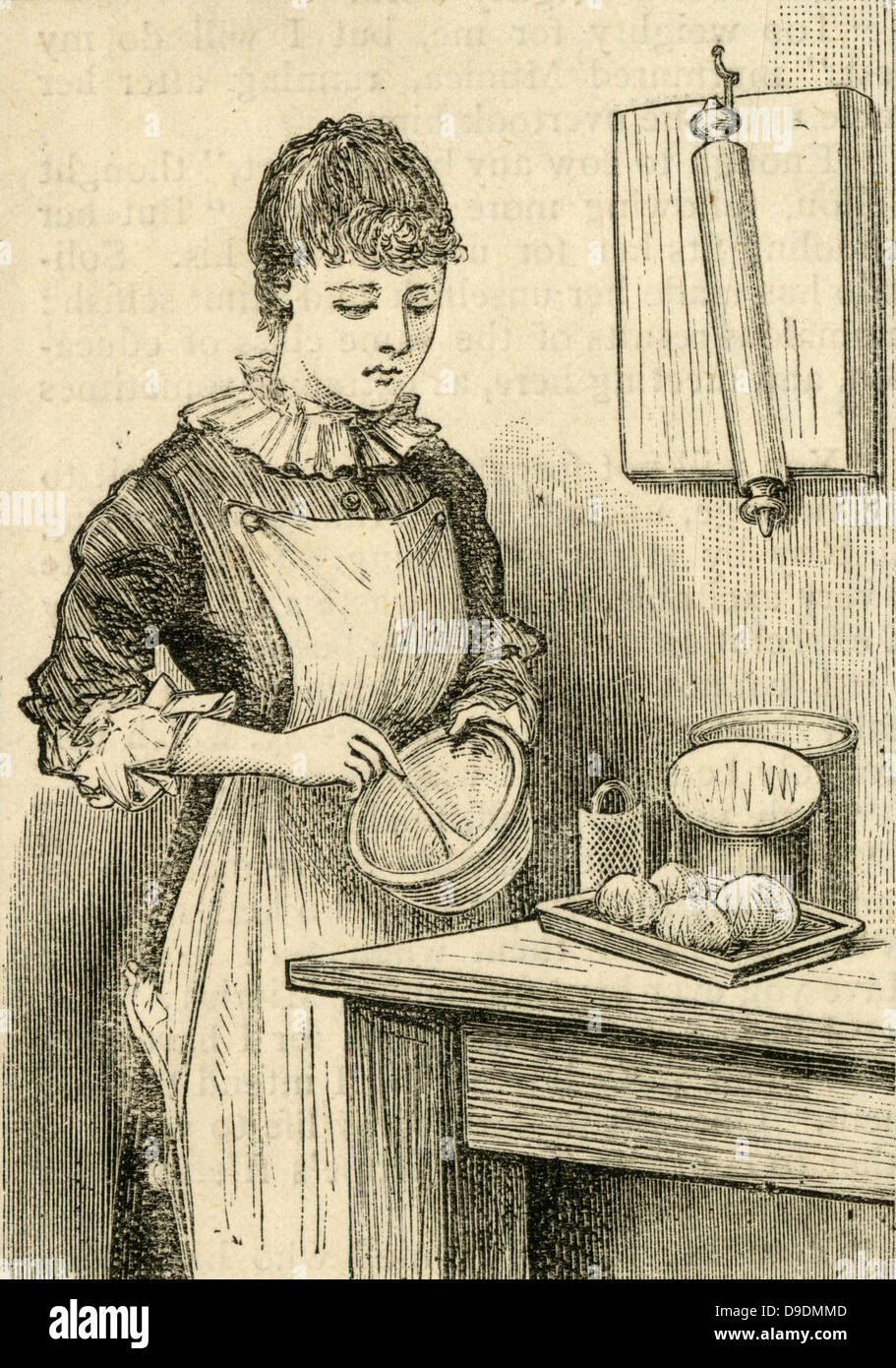Home cooking.  A woman using a whisk.  Engraving 1885 - Stock Image