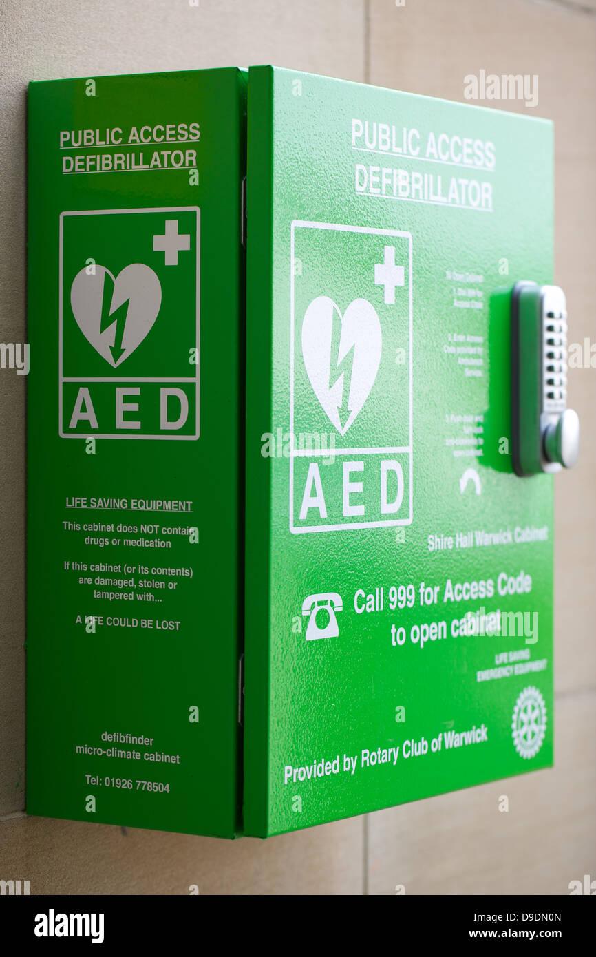 Public Access defibrillator outside shire hall in warwick uk - Stock Image