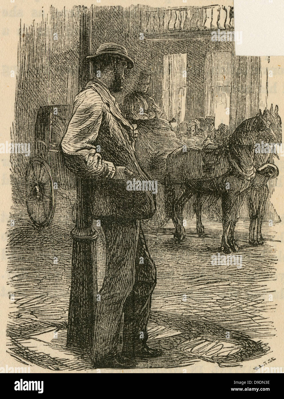 Man fallen on hard times looking at the ife he once had. Engraving, 1869 - Stock Image