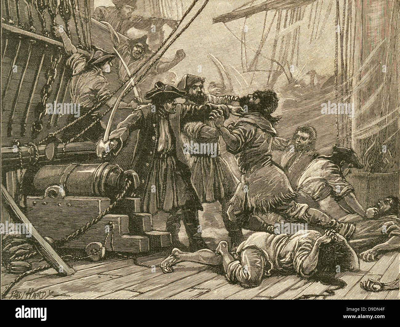 Pirates boarding a ship and overpower the crew: 18th century. - Stock Image