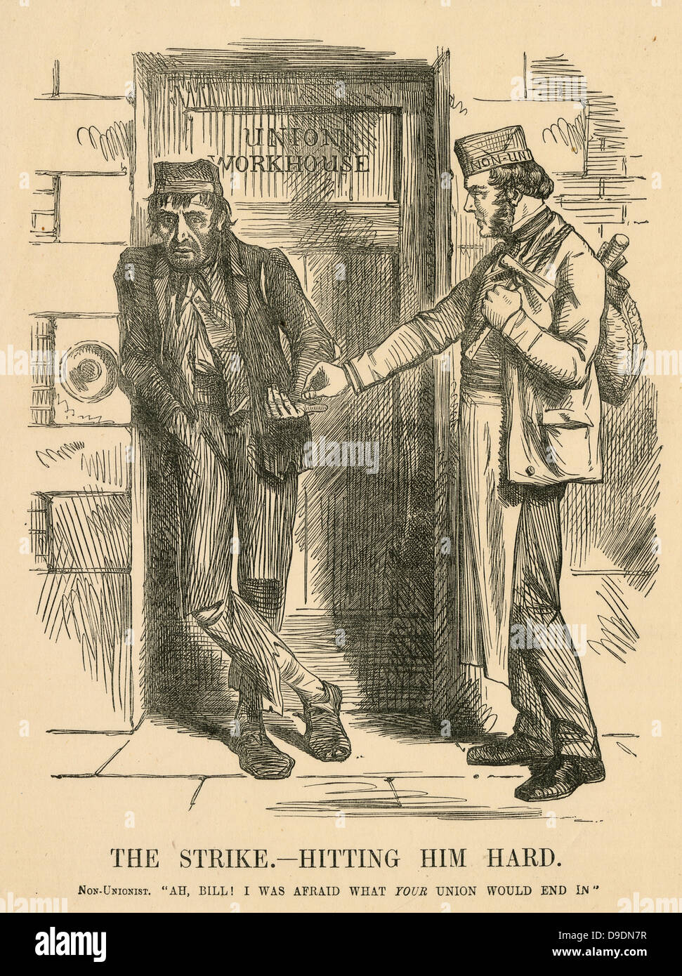 The result of striking - The Workhouse. Cartoon from ''Punch'', London, 1861. - Stock Image