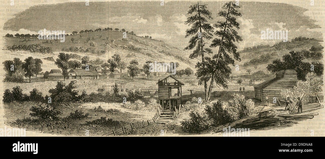 Sutter's saw mill where gold was found in 1848, precipitating the Californian Gold Rush.Engraving, 1853. - Stock Image