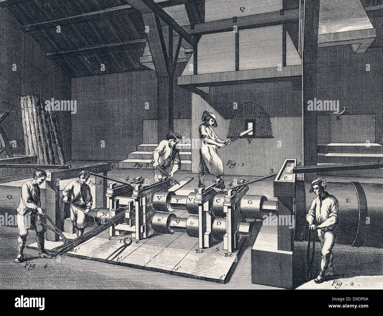 Wrought Iron: Rolling and slitting mill. From Diderot ''Encyclopedie'' c1751. - Stock Image
