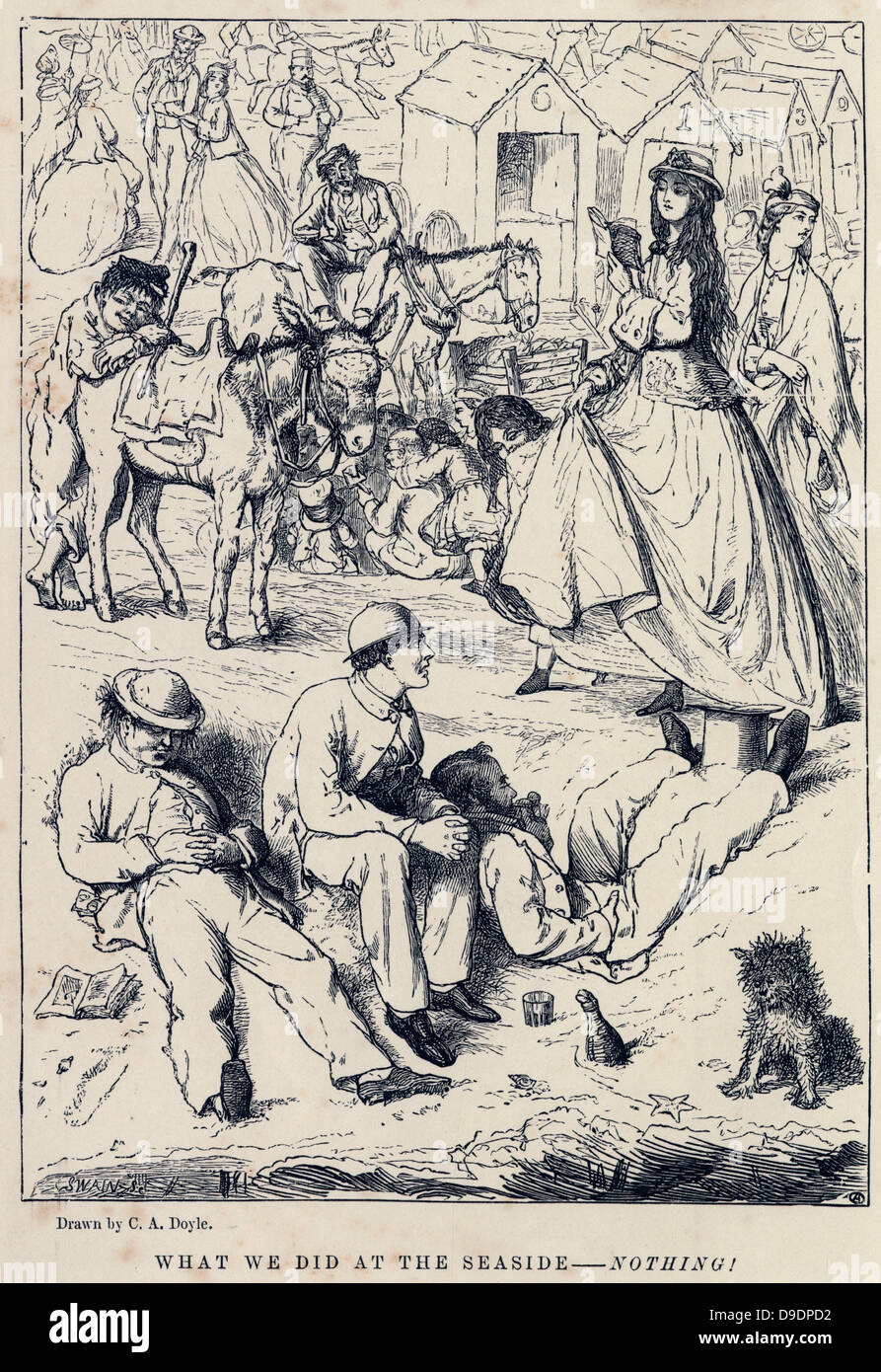 What we did at the seaside  -  Nothing.  Cartoon of 1882 - Stock Image