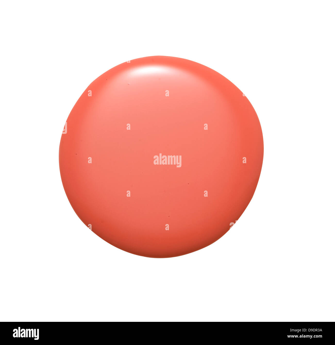 Coral Nail Polish Blob Cut Out Onto A White Background