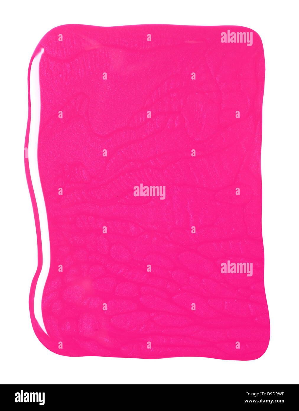 pink nail polish blob cut out onto a white background stock image