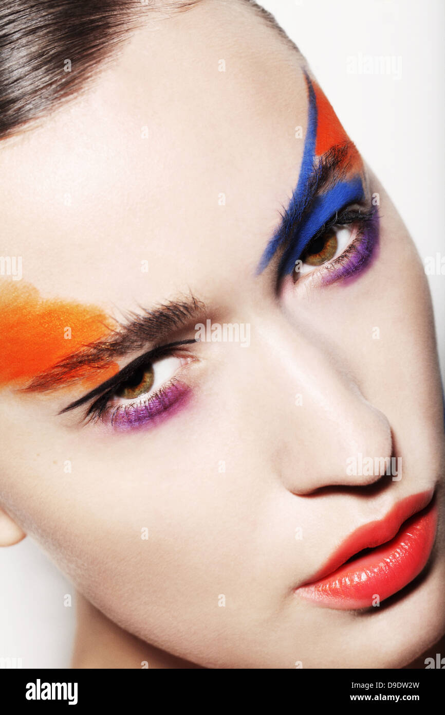 Young woman with bright makeup Stock Photo