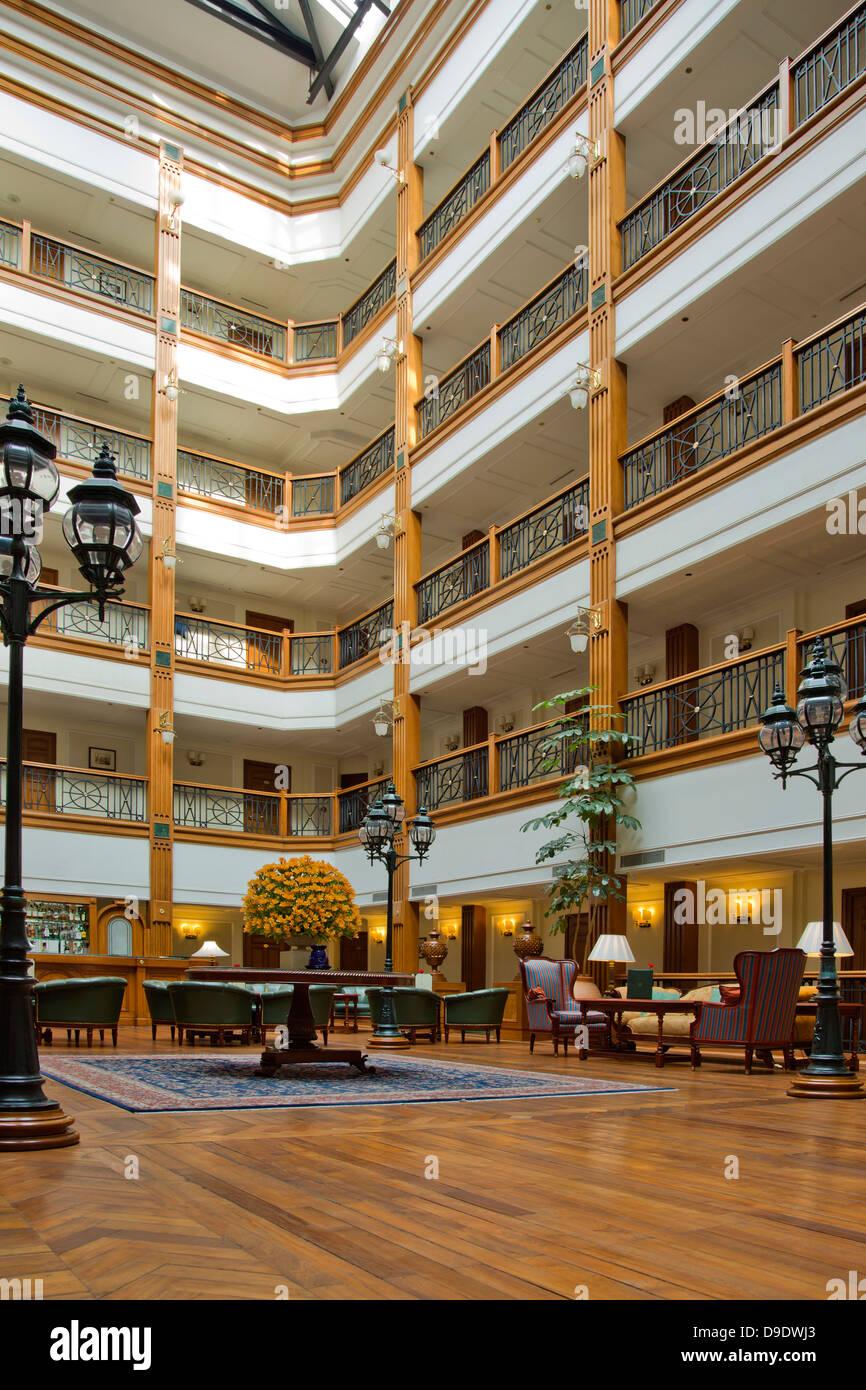 Courtyard of a luxury hotel, Shimla, Himachal Pradesh, India - Stock Image