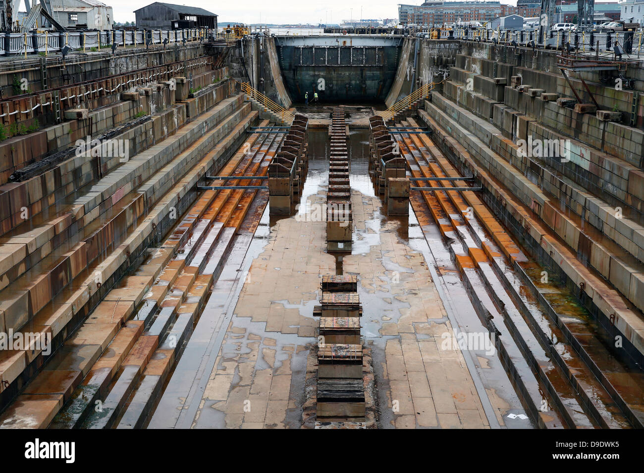 Dry dock in the Charlestown Navy Yard, Boston, Massachusetts - Stock Image