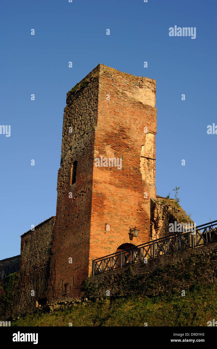 italy, umbria, città della pieve, torre del vescovo, medieval tower - Stock Image