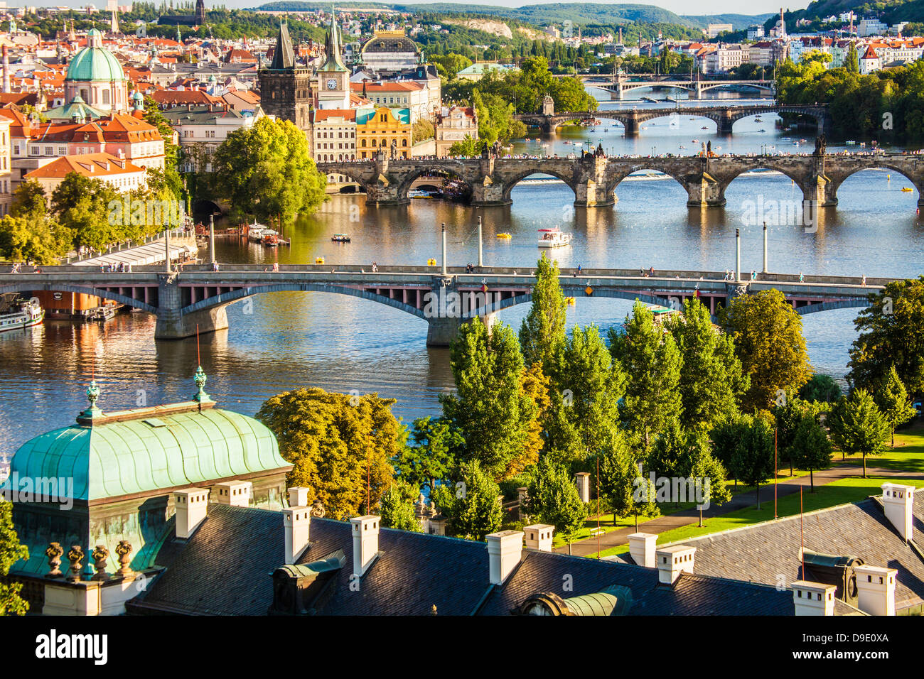 View of Prague and bridges over river Vltava (Moldau) Czech Republic. Famous Charles Bridge is second from bottom. - Stock Image