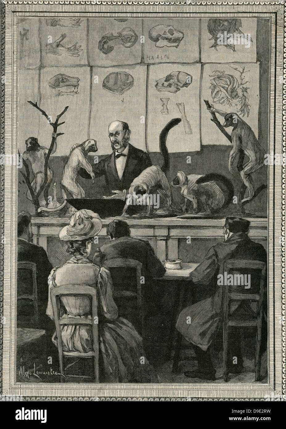 Henri Milne-Edwards (1800-1885) lecturing on zoology at the French Museumof Natural History. - Stock Image
