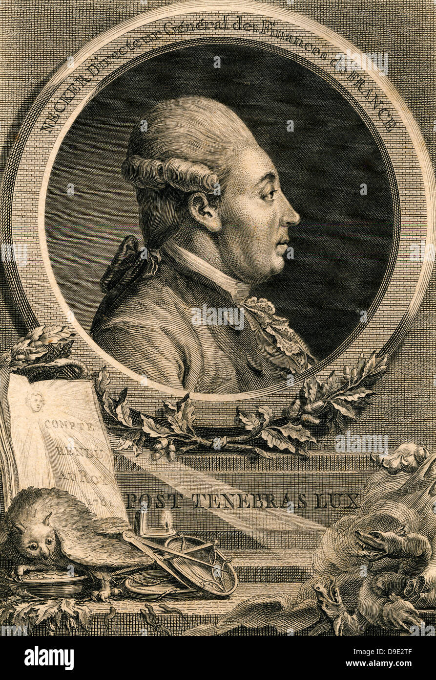 Jacques Necker (1732-1804) French financier and statesman. - Stock Image