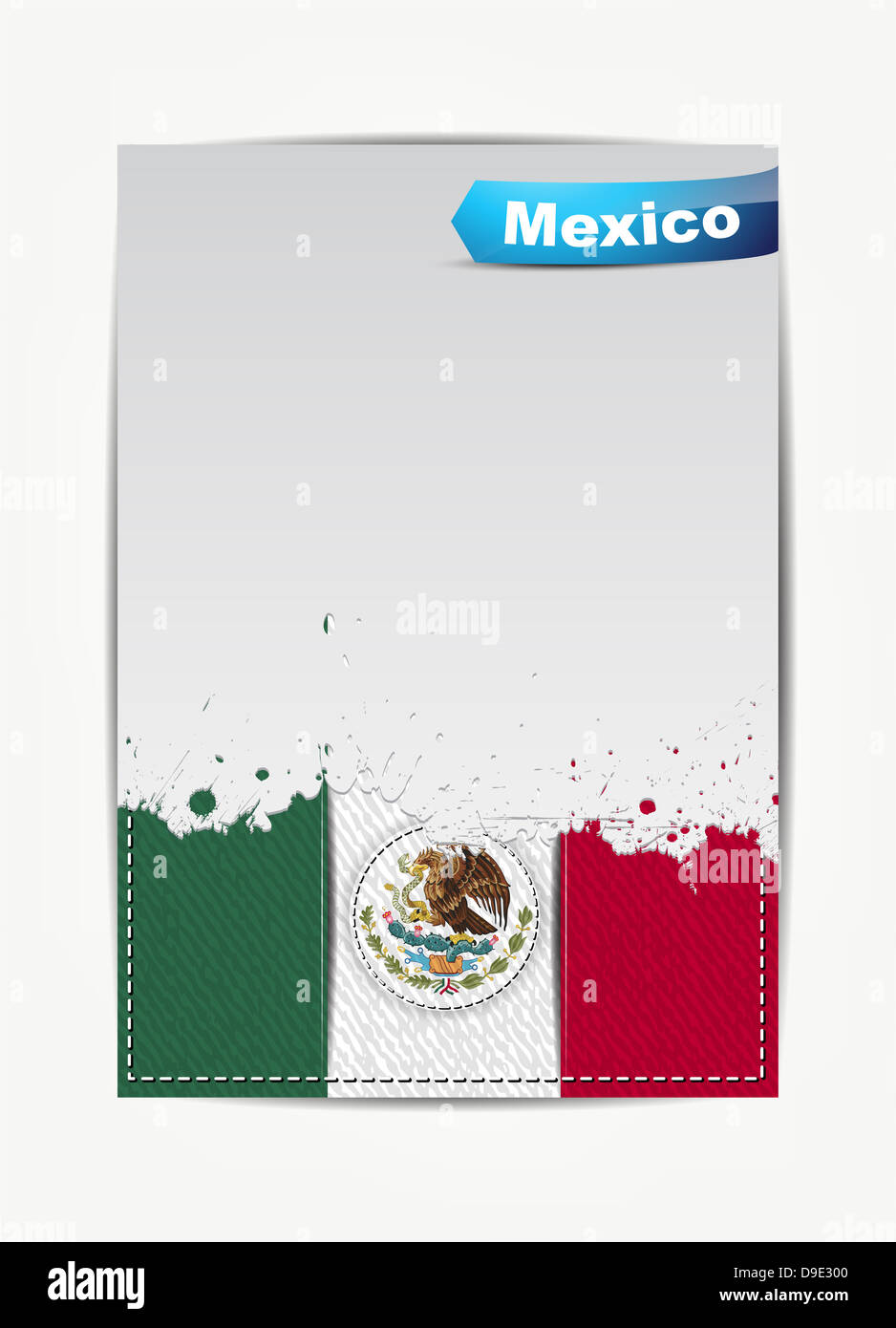 Stitched Mexico flag with grunge paper frame for your text with the name of the country. - Stock Image