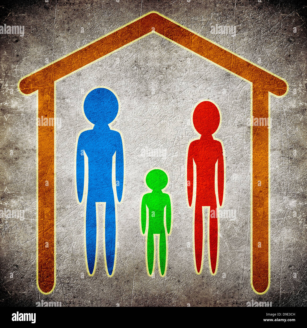family and  home concept digital illustration - Stock Image
