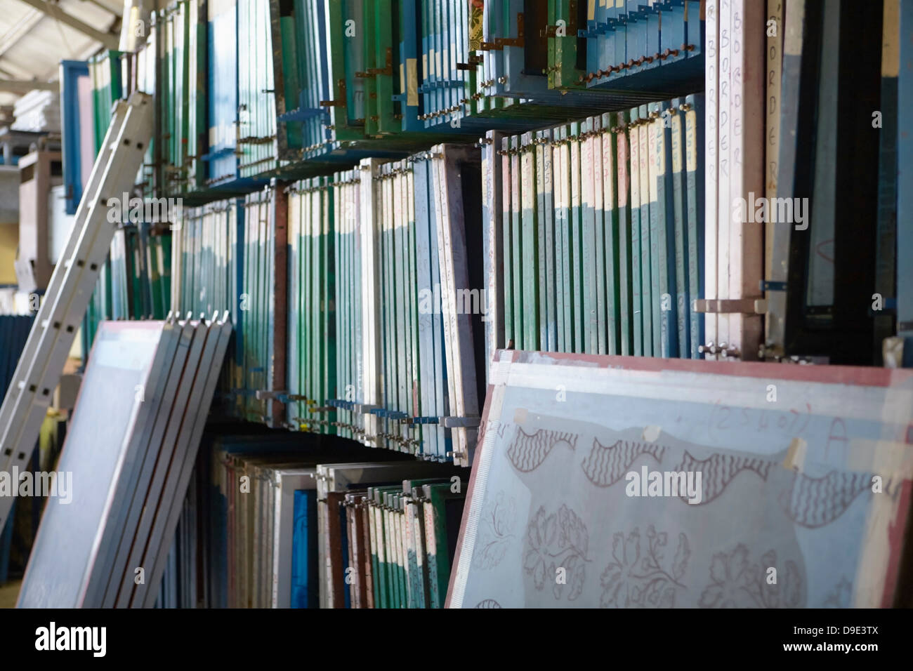Screen printing frames in textiles factory Stock Photo: 57473386 - Alamy