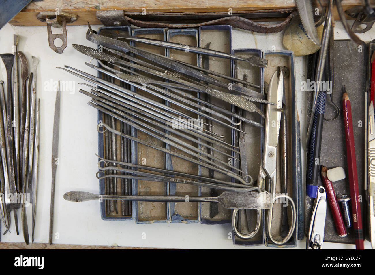 Hand tools in pottery factory, close up - Stock Image