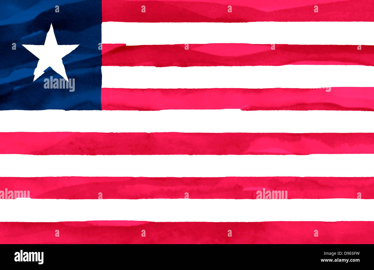 Painted flag of Liberia - Stock Image