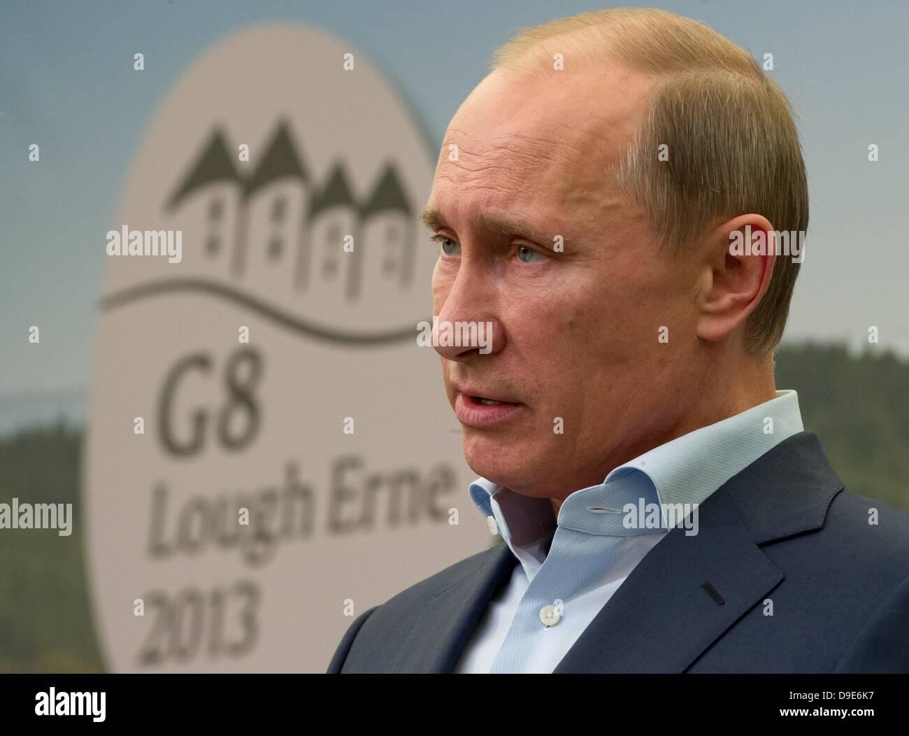 Enniskillen, Northern Ireland,  UK. 18th June 2013. Russian President Vladimir Putin gives a press conference after - Stock Image