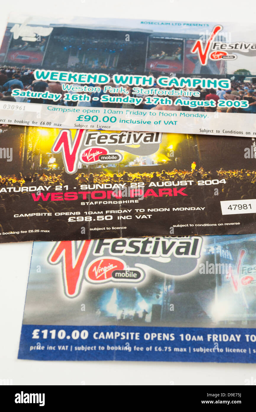 V Festival weekend camping tickets for Weston Park, Staffordshire, 2003-2005 - Stock Image