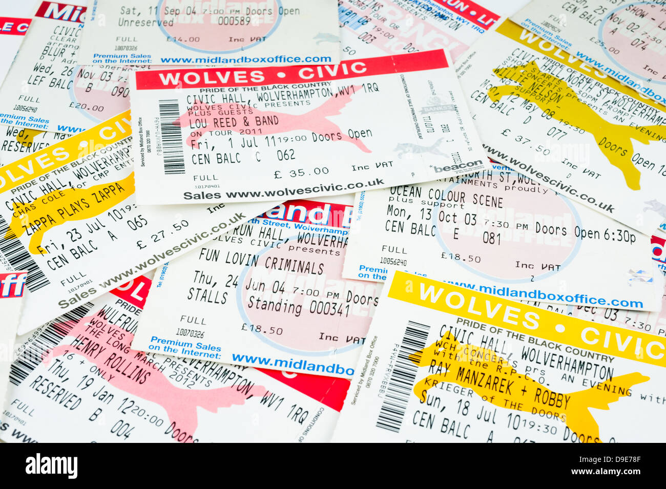 Tickets to shows at the Wolverhampton Civic and Wulfrun Halls, Wolverhampton, England. - Stock Image
